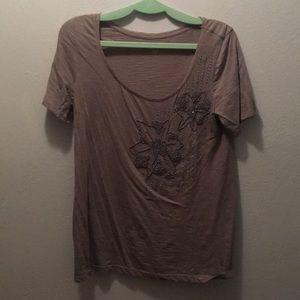 Loft grey T-shirt w/ embellishments. Short sleeve